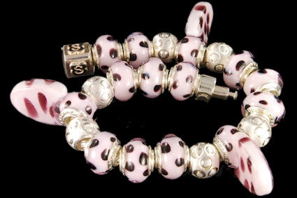 SLB-024. Italian 925 sterling silver bracelet with Pandora style Morano glass charms