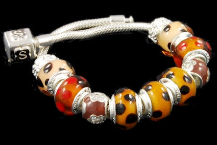 SLBC-003. Italian 925 sterling silver bracelet with Pandora style Morano glass charms