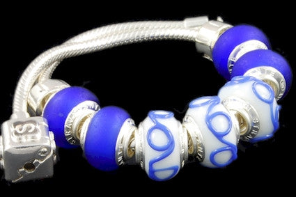 SLBC-012. Italian 925 sterling silver bracelet with Pandora style Morano glass charms