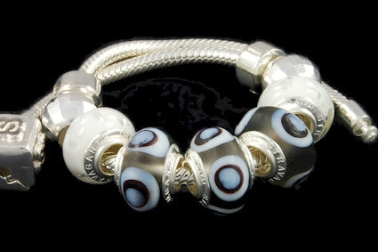 SLBC-016. Italian 925 sterling silver bracelet with Pandora style Morano glass charms