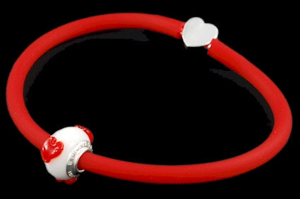 RBC-UD-001. Italian rubber bracelet with Pandora Style Murano bead and 925 sterling silver clasp