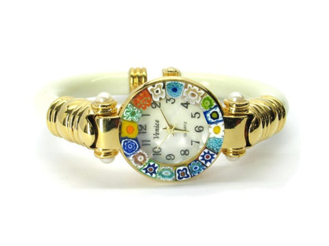 ITALIAN MURANO WATCH 2 SERENISSIMA, GOLD CASE-IVORY COLOR
