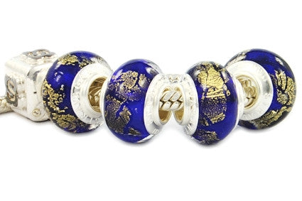 F8A-N61. Italian Pandora Style Murano Glass Bead with 925 sterling silver core