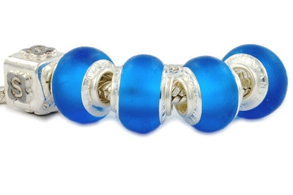 F8A-379. Italian Pandora Style Murano Glass Bead with 925 sterling silver core
