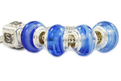 F8A-51. Italian Pandora Style Murano Glass Bead with 925 sterling silver core