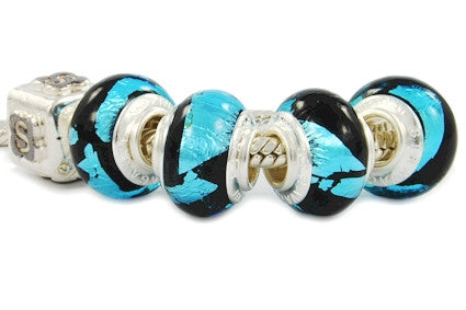 F8A-344. Italian Pandora Style Murano Glass Bead with 925 sterling silver core