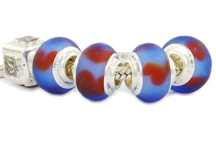 F8A-254. Italian Pandora Style Murano Glass Bead with 925 sterling silver core