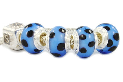 F8A-217. Italian Pandora Style Murano Glass Bead with 925 sterling silver core