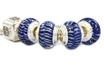 F8A-N13. Italian Pandora Style Murano Glass Bead with 925 sterling silver core
