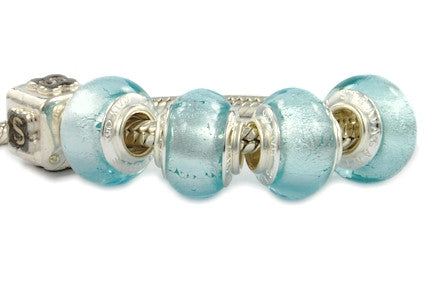 F8A-111. Italian Pandora Style Murano Glass Bead with 925 sterling silver core