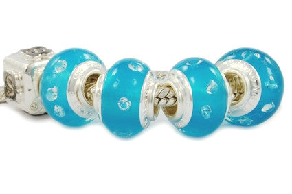 F8A-ZB13. Italian Pandora Style Murano Glass Bead with 925 sterling silver core
