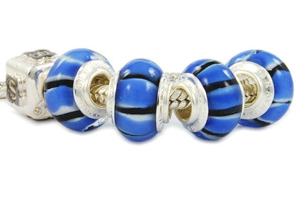 F8A-156. Italian Pandora Style Murano Glass Bead with 925 sterling silver core