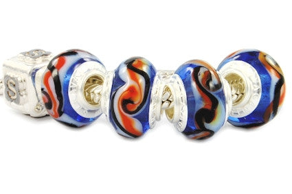 F8A-214. Italian Pandora Style Murano Glass Bead with 925 sterling silver core