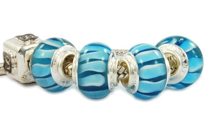 F8D-H21. Italian Pandora Style Murano Glass Bead with 925 sterling silver core