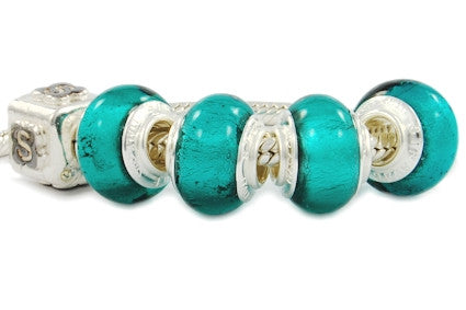 F8A-108. Italian Pandora Style Murano Glass Bead with 925 sterling silver core