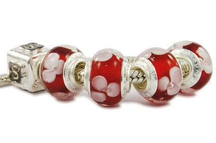 F8D-H04. Italian Pandora Style Murano Glass Bead with 925 Sterling Silver Core