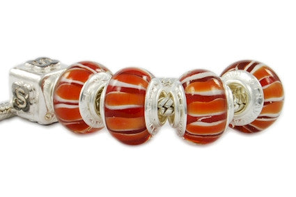 F8D-H67. Italian Pandora Style Murano Glass Bead with 925 Sterling Silver Core