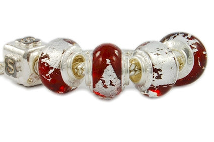 F8A-363. Italian Pandora Style Murano Glass Bead with 925 Sterling Silver Core