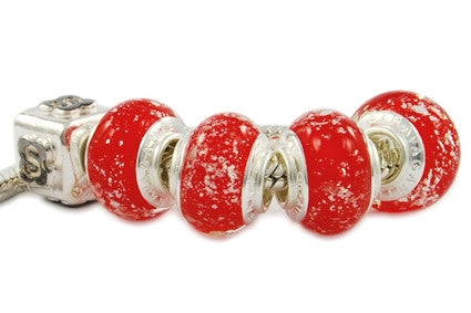 F8A-282. Italian Pandora Style Murano Glass Bead with 925 Sterling Silver Core