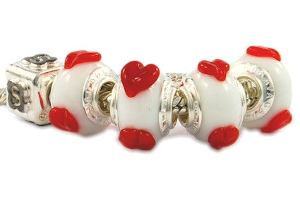UD-001. Italian Pandora Style Murano Glass Bead with 925 Sterling Silver Core