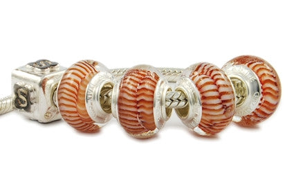 F8A-B07. Italian Pandora Style Murano Glass Bead with 925 Sterling Silver Core
