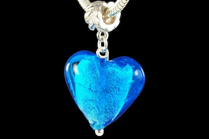 2830-LB. Italian 925 Sterling Silver Murano Glass Dangle