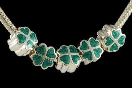 DJB-18. Italian Enameled Bead in 925 Sterling Silver