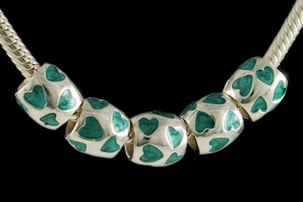 DJB-19. Italian Enameled Bead in 925 Sterling Silver