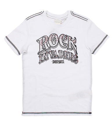 diesel t-shirt for boys. 52453_die_00j26akyaabk100_bianco