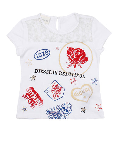 diesel t-shirt for baby girls. 52491_die_00k0vgkyakfk100_bianco