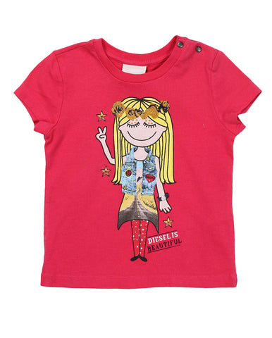 diesel t-shirt for baby girls. 52495_die_00k0vzkyakfk30a_fuxia