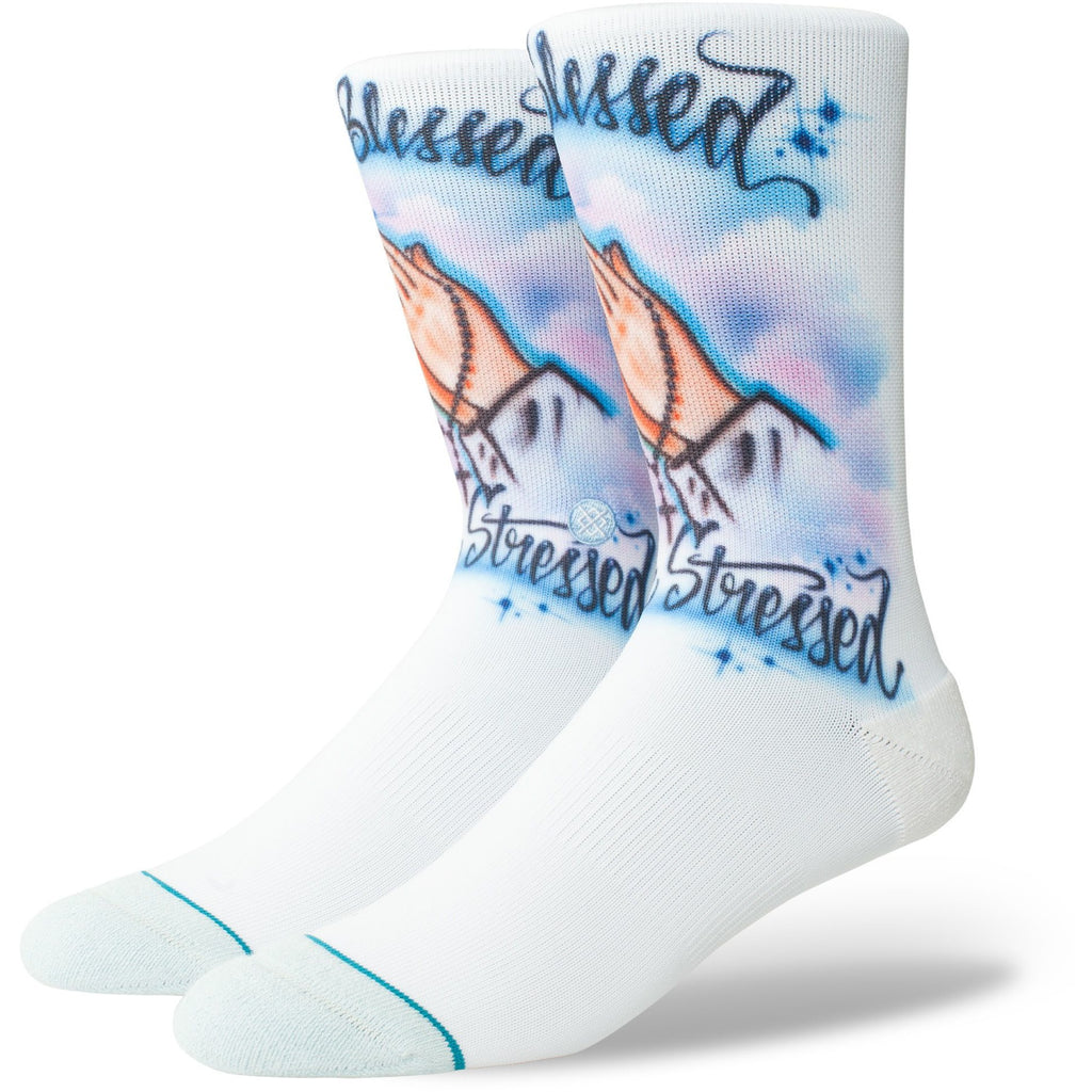 M558A18AIB.BLU Anthem Airbrush Blessed Socks Blue