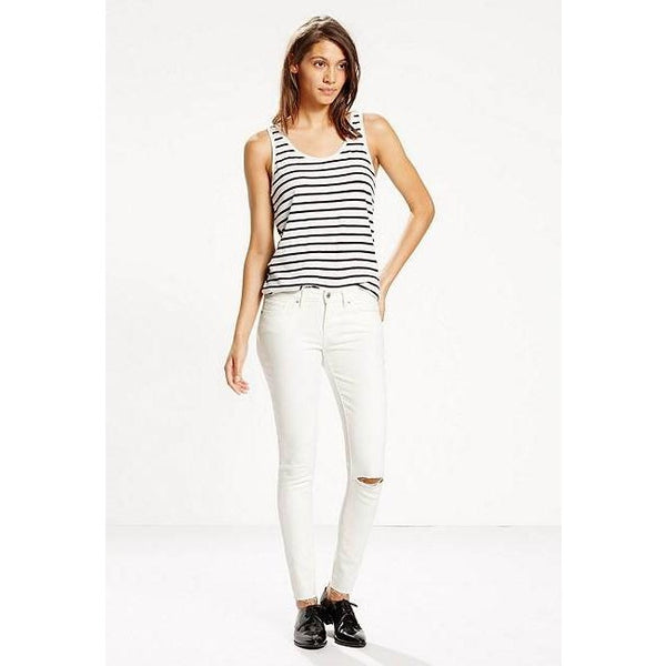 Women's Levi's 711 Skinny Jeans in White Tide Destructed