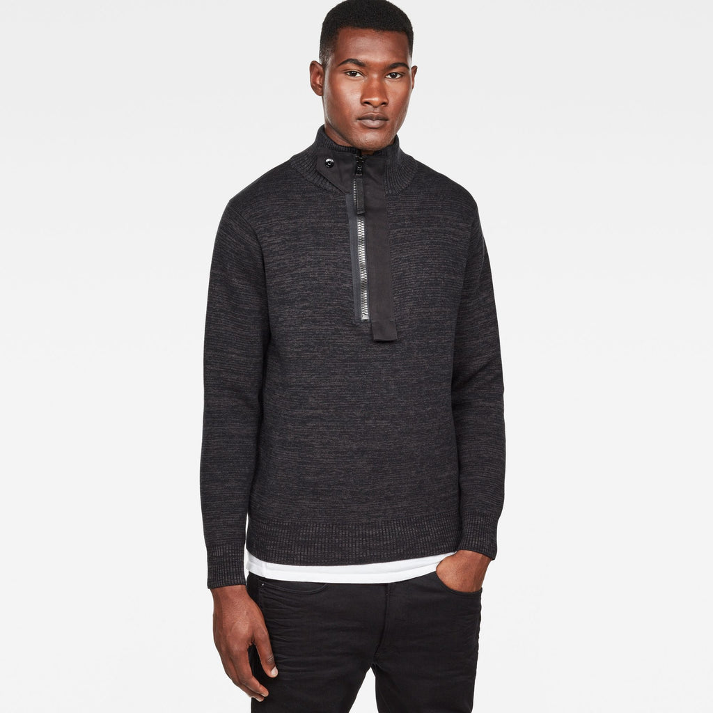 Empral Half Zip Knit Dark Black/Raven