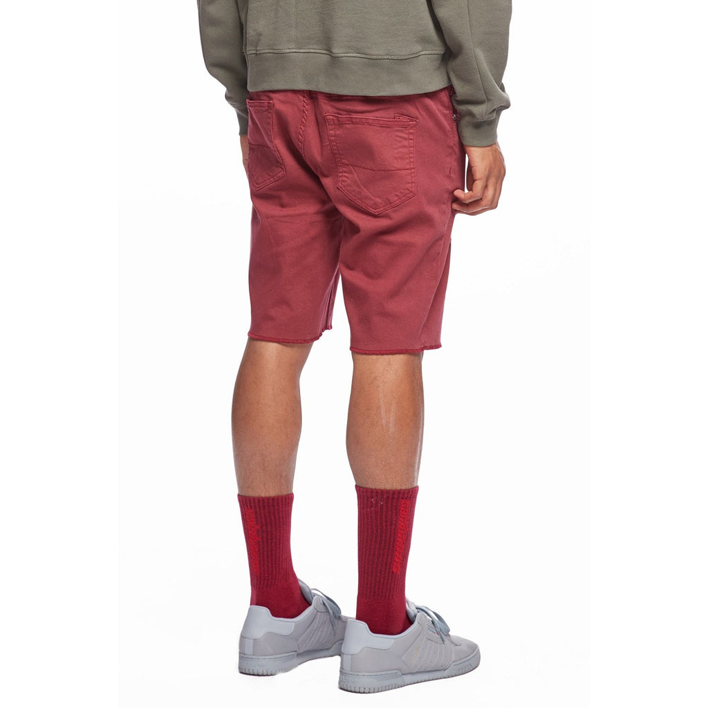 Oxblood Denim Shorts