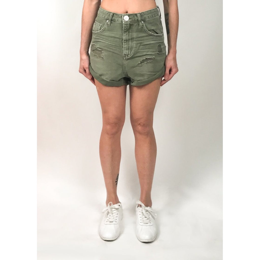 OT20426 High Waist Bandits Denim Shorts Super Khaki