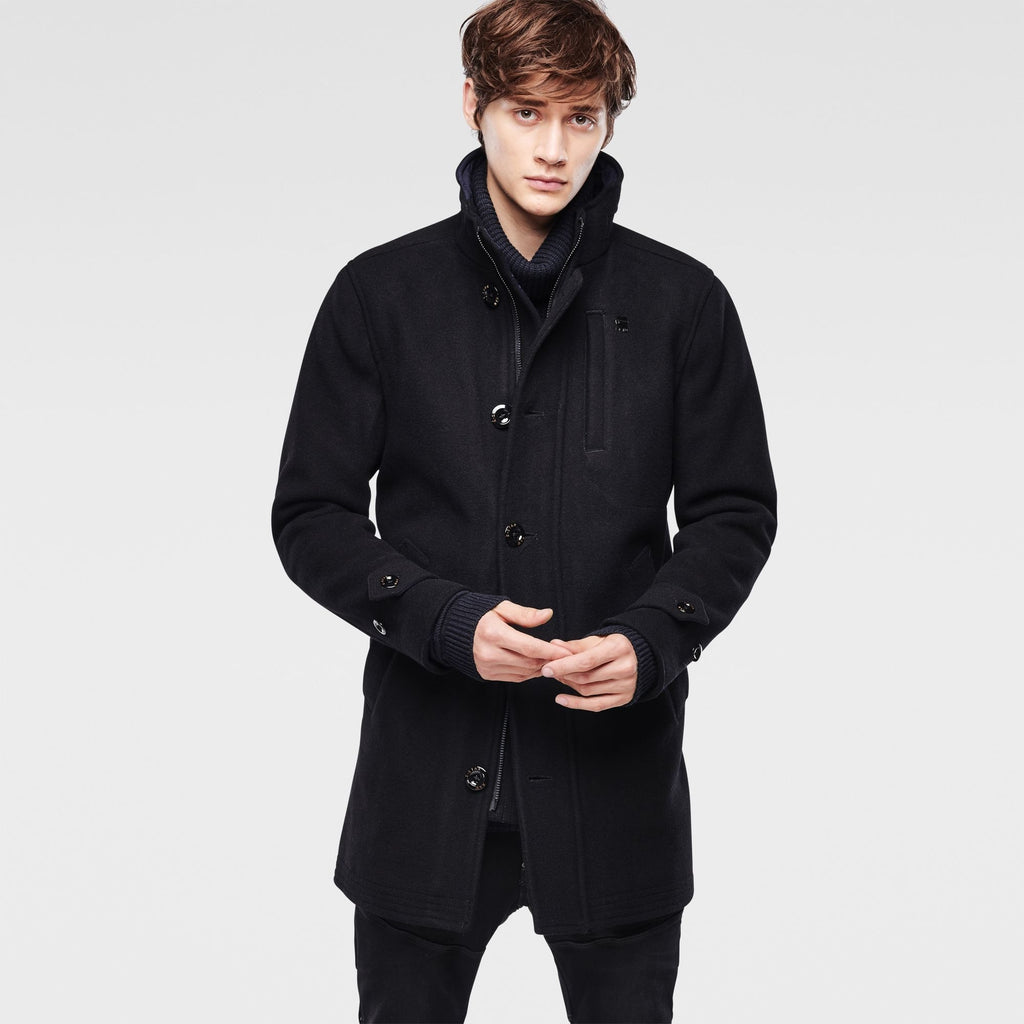 Wool Garber Trench Coat Black