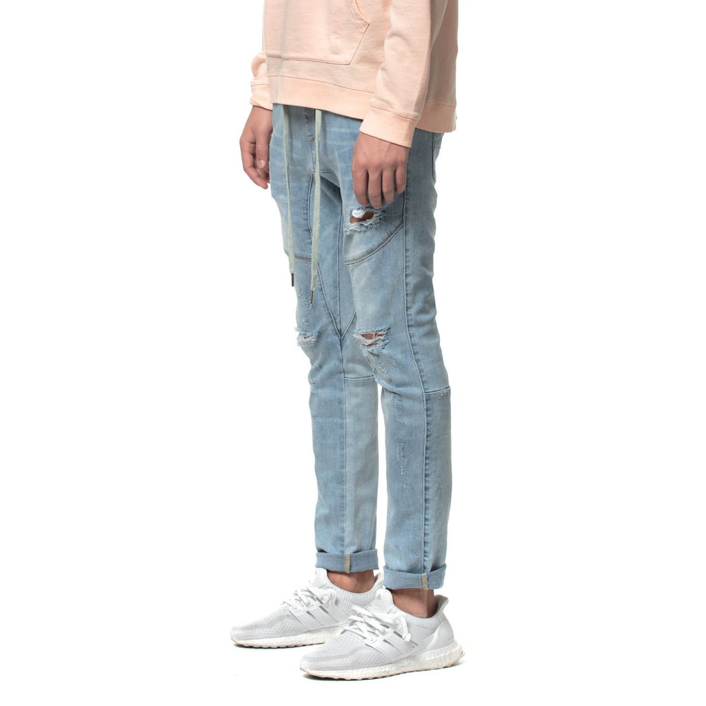 Cloud Blue Open Leg Denim Jogger