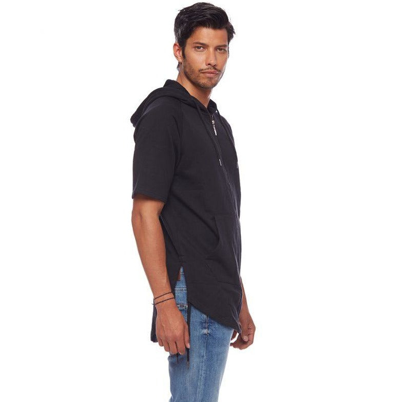 Side Tie Short Sleeve Op Black