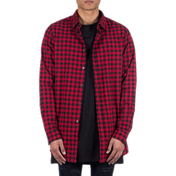 Men's Sixth June Red Plaid Shirt with Zipper