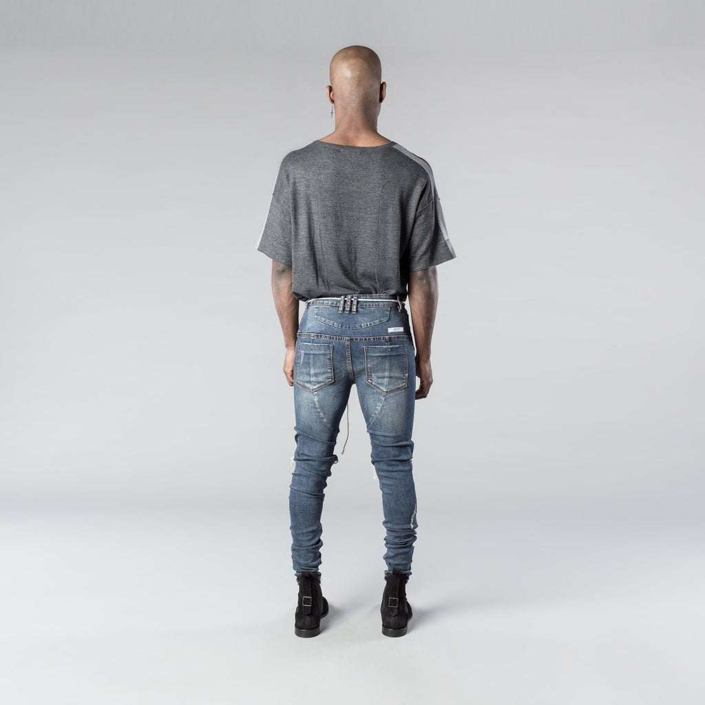 Blown Out Knee Dark Blue Denim