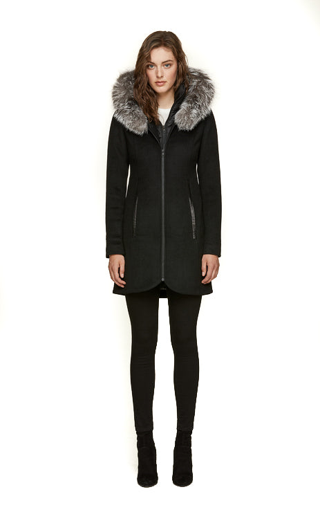 Women's Soia & Kyo Charlena FX Hooded Wool Coat - Black
