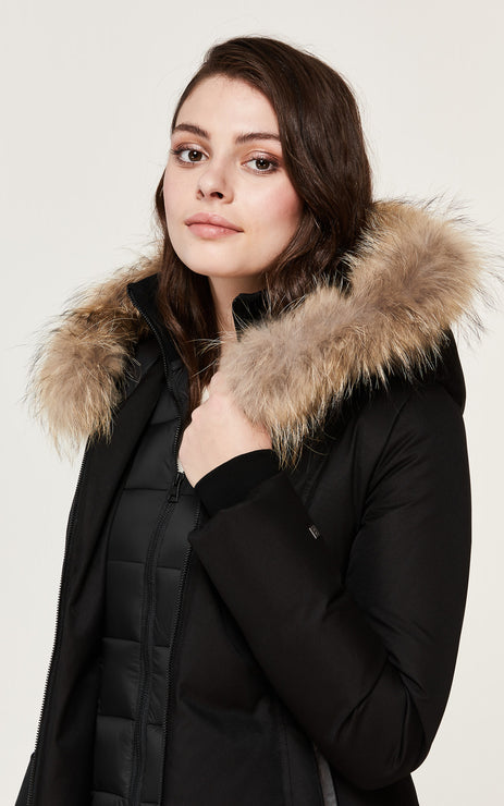 SOIA & KYO WOMENS CHRISTY BRUSHED DOWN COAT WITH NATURAL FUR BLACK