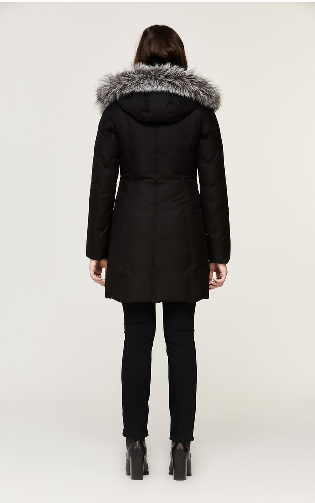 SOIA & KYO WOMENS CHRISTY BRUSHED DOWN COAT WITH REMOVABLE SILVER FUR BLACK