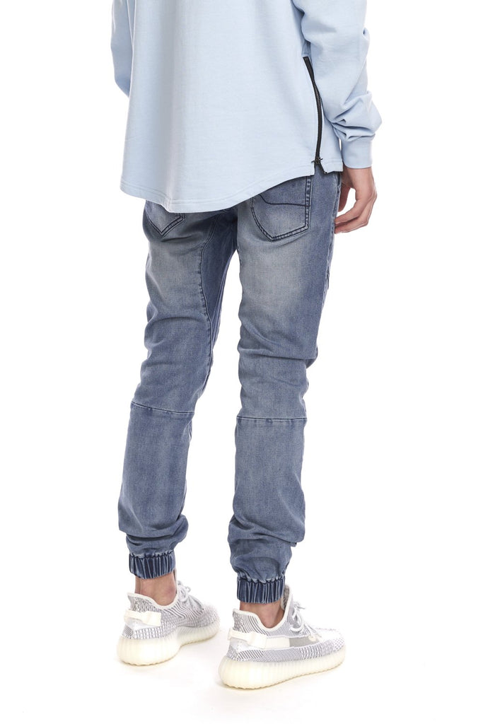 KUWALLA TEE MENS KNIT DENIM JOGGER STEEL BLUE