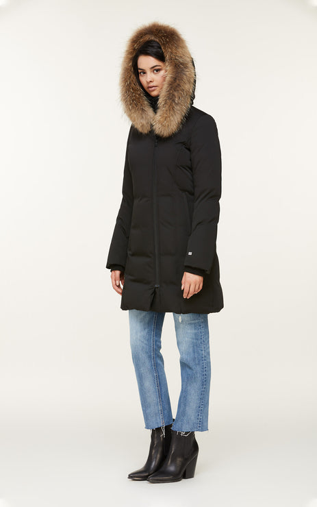 SOIA & KYO WOMENS SALMA CLASSIC DOWN COAT W/ REMOVABLE NATURAL FUR BLACK