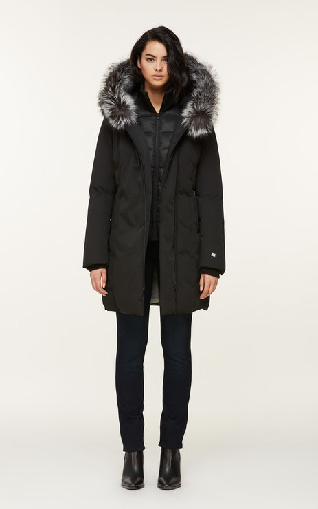 SOIA & KYO WOMENS SALMA CLASSIC DOWN COAT WITH REMOVABLE SILVER FUR BLACK