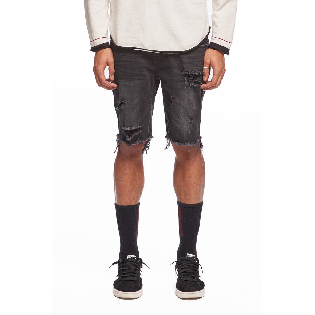 KUL-DS1209 Black Denim Kamikaze Shorts