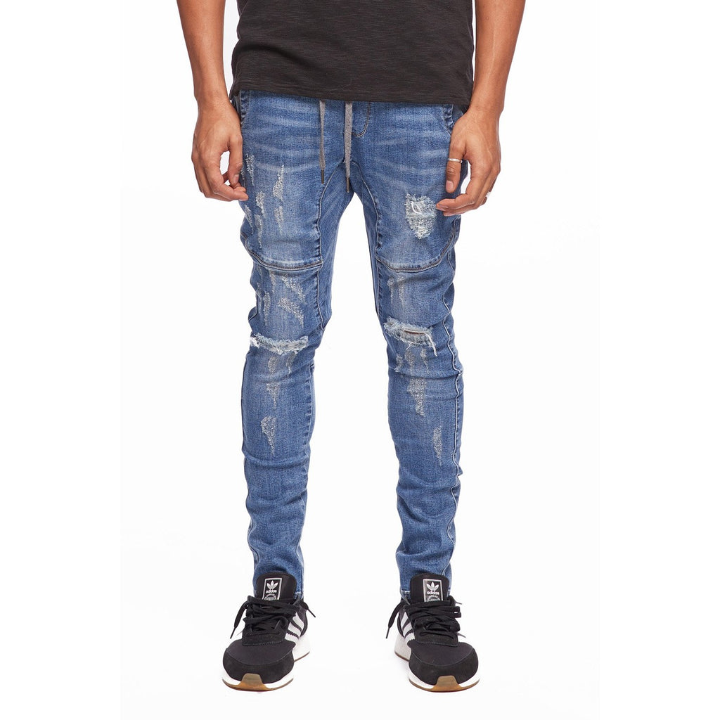 KUL-J1564 Dark Blue Open Leg Denim Jogger