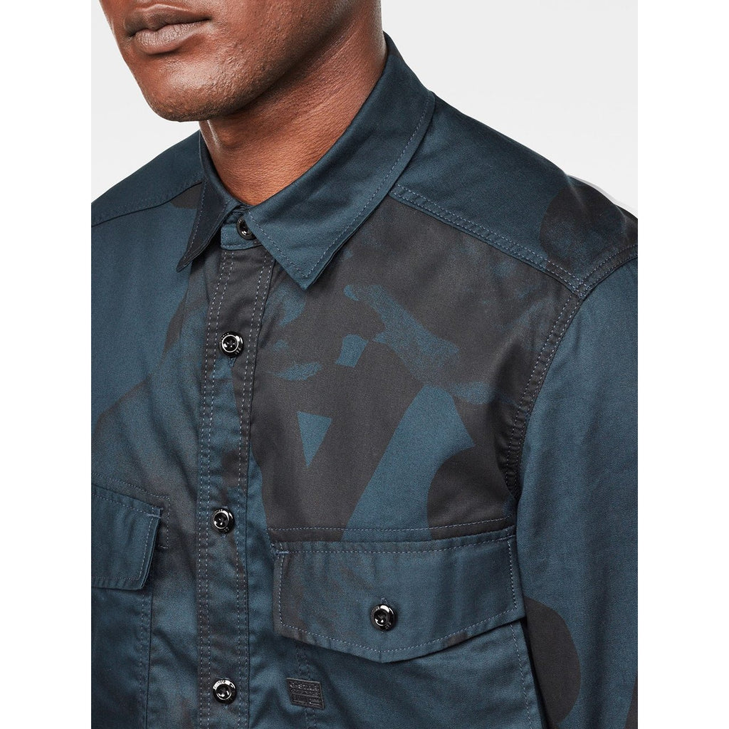 Type C Straight Long Shirt Legion Blue/Black Pattern